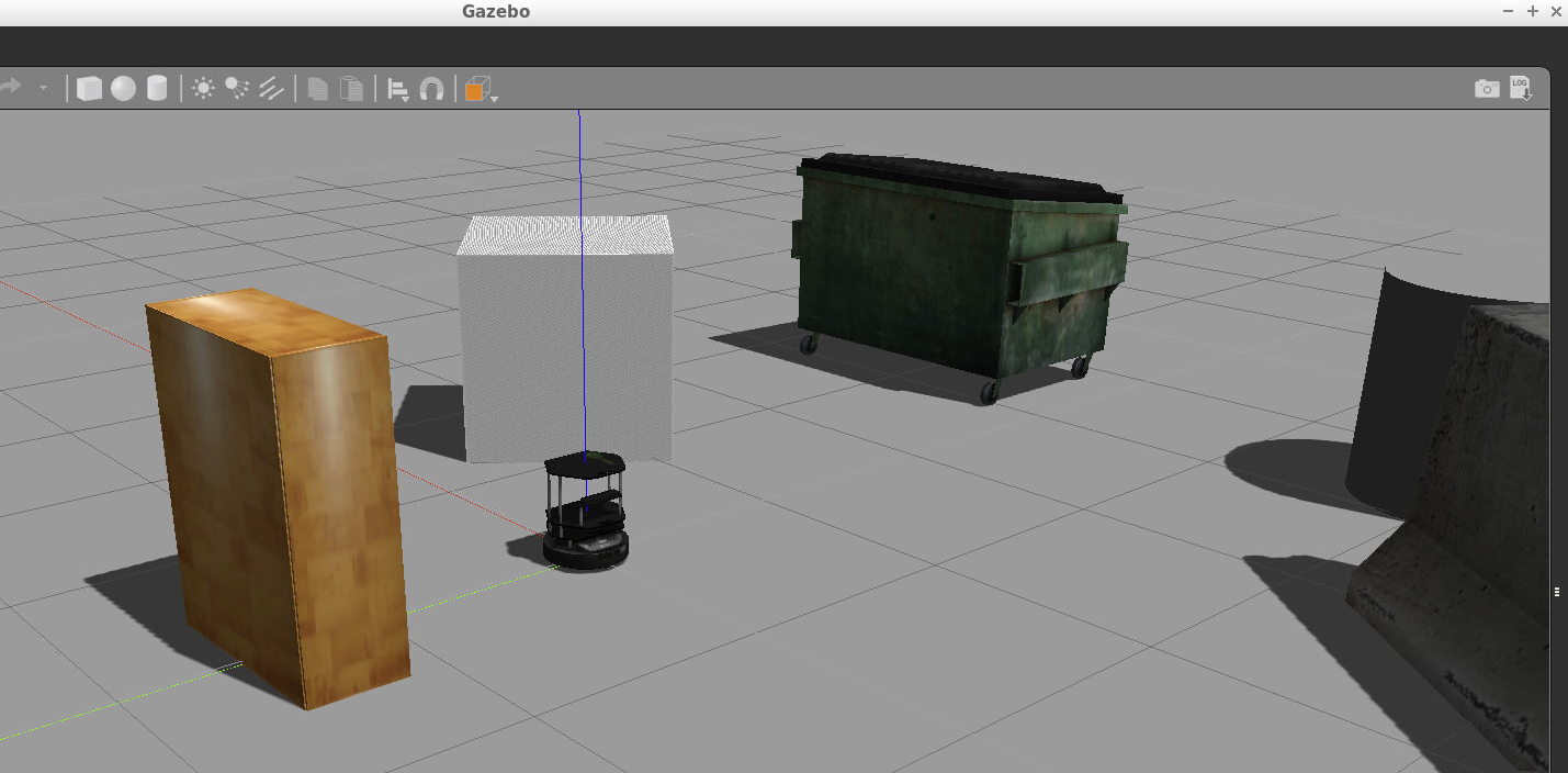 Gazebo simulation of the turtlebot package.